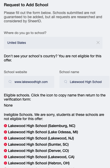 Add School Request Ineligible Results