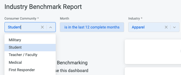 Benchmark Reporting Industry Filter